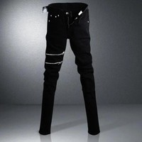 Denim Hot Sale Black Korean Slim Pants Zippers Skinny Pants [277905342493]
