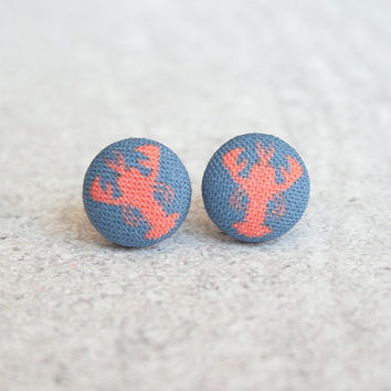 Lobster, Fabric Covered Button Earrings