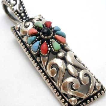 Sterling Silver Pendant with Multi Gemstones