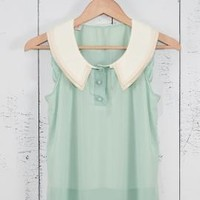 Next Chapter Lace Trim Vintage Collar Sleeveless Top in Mint | Sincerely Sweet Boutique