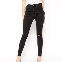 ASOS Ridley High Waist Ultra Skinny Jeans in Washed Black with Ripped
