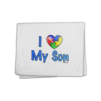 """I Heart My Son - Autism Awareness 11""""x18"""" Dish Fingertip Towel by TooLoud"""