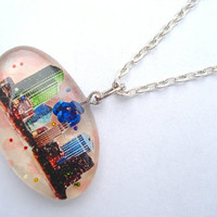 Colorful Cityscape Rose Resin Necklace