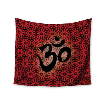 "KESS Original ""Om Red"" Red Black Wall Tapestry"