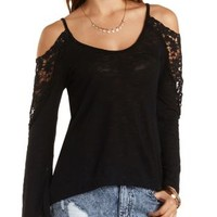 Crochet-Trim Bell Sleeve Top by Charlotte Russe
