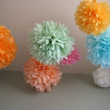 SALE - 30 mediums Tissue Pom Kit - Pick your colors - Wedding Deluxe DIY Kit