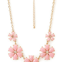 FOREVER 21 Sunburst Faux Stone Necklace Gold/Pink One