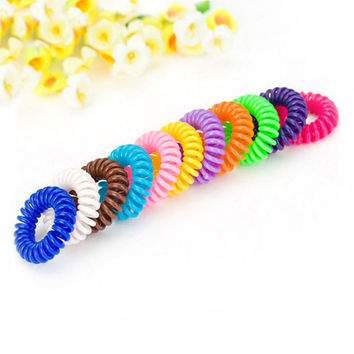 Fashion Candy Color Gum Elastic Hair Ring Band Tie Holder Women Maker Tool Wire Female Telephone Line Rope Hairwear Jewelry Gift
