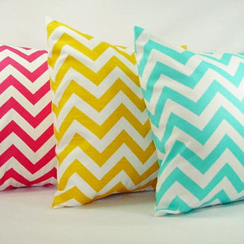 Three Couch Pillow Covers - Bright Teal Yellow and Pink Chevron - 16 x 16 inches Throw Pillow Cushion Cover Accent Pillow