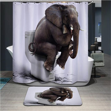 High Quality Cartoon Printed Elephent Polyester Shower Curtain Waterproof Home Bathroom Curtains 3D Thicken Shower Curtains