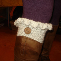 Crochet boot cuffs from Angora yarn // Womens Leg warmers // Boot socks/  Ready to be shipped