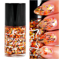 Candy Corn Nail Polish - Black, Orange, Yellow and White Glitter