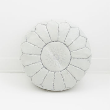 Moroccan Leather Pouf, Mist Grey