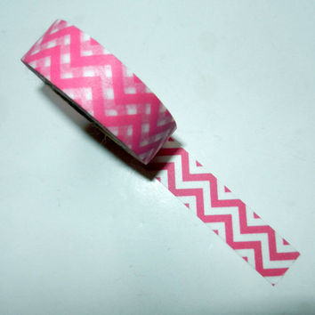 Pink and White Chevron Washi Tape