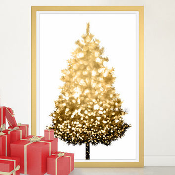 "Christmas tree alternative, Gold Christmas tree print, large printable poster, 20x30"" printable decor, diy christmas tree pinboard - cta002"