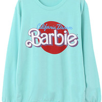 ROMWE | Barbie Printed Blue Pullover, The Latest Street Fashion