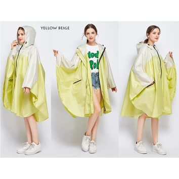 Freesmily women's fashion raincoat waterproof poncho Cape raincoat lightweight portable travel hiking trial
