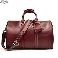 Women Genuine leather Travel bags Red large capacity cow leather travel duffel fashion luggage Weekend bag Men travel
