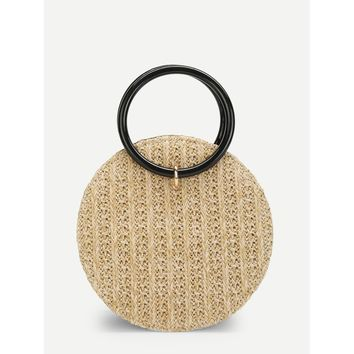 Round Crossbody Straw Bag