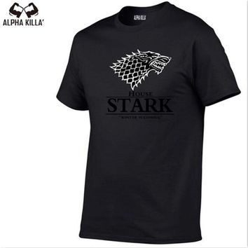 Fashion The North Remembers Blood Wolf T Shirt Men's Novelty Game of Thrones Tshirt High Quality 100% Cotton Hipster Tee Tops
