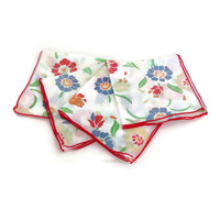 Vintage Napkins Cottage Chic Cotton Floral, Luncheon Napkins, Bright Colors, Yellow, Red, Green, Blue, Red Stiched Edge, Set of Four
