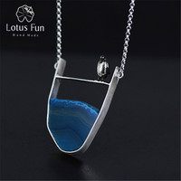 Lotus Fun Real 925 Sterling Silver Natural Agate Handmade Fine Jewelry Lovely Penguin Necklace with Pendant for Women Collier