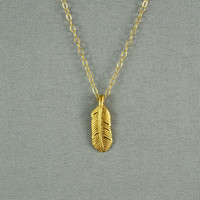Vermeil Feather Necklace, 14K Gold Filled Chain, Modern, Simple, Everyday Wear Jewelry