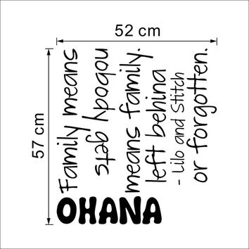 OHANA means family fashion design cartoon wall sticker film Lilo and Stitch appointment kids wall 3D stickers vinyl SM6
