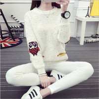 2016 Autumn Winter Warm Jumpers Women Sweater Pullover High Elastic Lovely Colored Owl Printed Christmas Knitted Pullovers