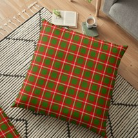 'Tartan Style Green and Red Plaid' Floor Pillow by MarkUK97