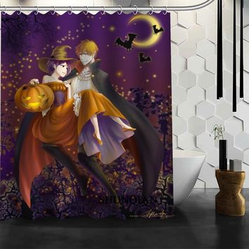 halloween anime Shower Curtain High Quality Bathroom product Personalized Custom Fabric Bath Curtain
