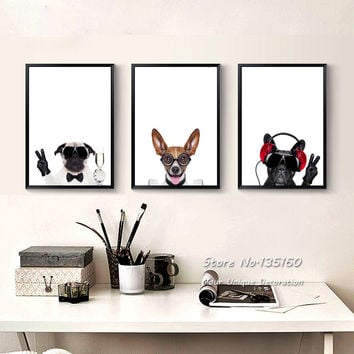 Triptych Canvas Art Pet Dogs Prints Nursery Baby Bedroom Animated Wall Pictures
