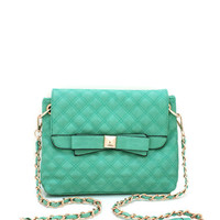 quilted-bow-front-purse BLACK MINT - GoJane.com