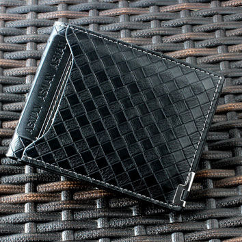 Mans Wallet Horizontal Knit Wallet PU Leather Purse Leisure Business Wallet