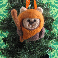 Ewok Christmas Ornament - Needle Felted - MADE TO ORDER