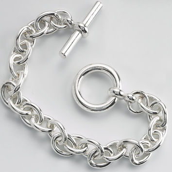 Sterling Silver 8.8mm Cable Chain Bracelet Toggle Clasp  Custom Made in the USA