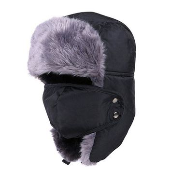 Men's Winter Fur Hats Ushanka Outdoor Earflap Keep Warm Snow Caps Warm Winter Women Cap Face Mask Men's Cycling Hat Ski Hats