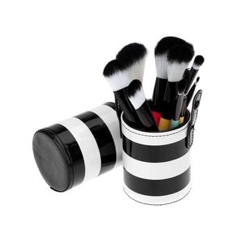 PEAPHY3 JFYB-10pcs Professional Colorful Makeup Brush Set Cosmetic Brush Kit Makeup Tool with Cup Leather Holder Case (White + Black)