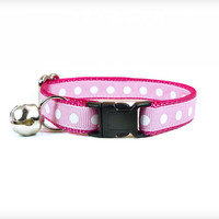 "Cat Collar - ""Be My Baby"" - White Polka Dots on Candy Pink & Berry Pink"
