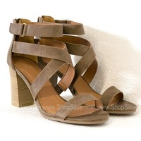 Lucia Taupe Strappy Heels