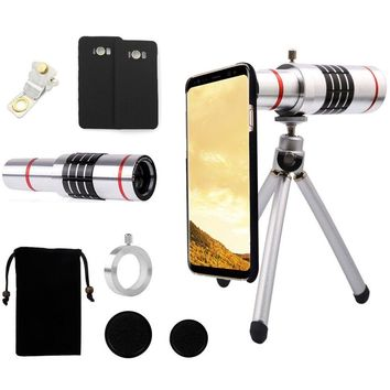 18x Magnifier Manual Focus Telephoto Lens+Phone Holder+Hard Case+Bag+Cleaning Cloth+Self Photo Tripod For Samsung Galaxy S8