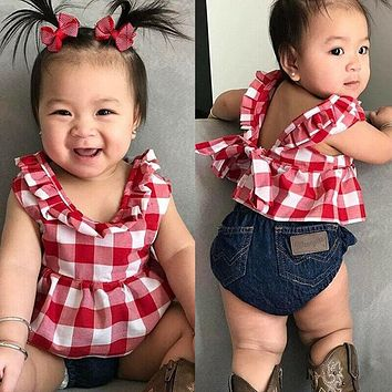 3pcs Infant Baby Girl Plaid Vest Tops Dress+Denim Pants+Headband Outfits Clothes