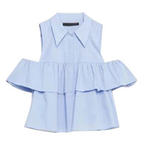 Light Blue Cold Shoulder Ruffled Top