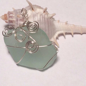 Aqua Bermuda Beach wire wrapped sea glass Texas sea glass necklace