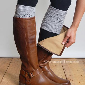 Grace & Lace Cable Knit Boot Cuff (Light Grey)