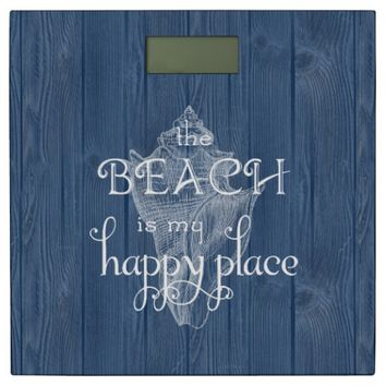 Sea Shell White Beach Happy Place Blue Wood Scale Bathroom Scale