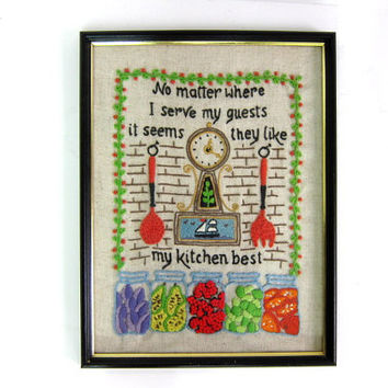 20% OFF SALE. vintage Kitchen long stitch // colorful framed embroidery needlepoint Picture