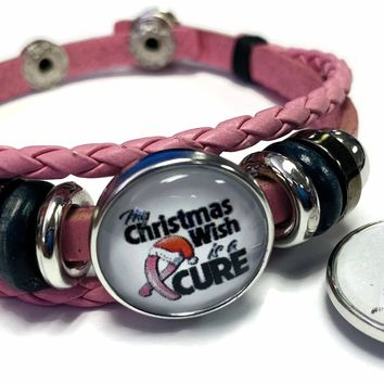 Breast Cancer Awareness Christmas Cure Pink Leather Bracelet W/2 Snap Jewelry Charms New Item