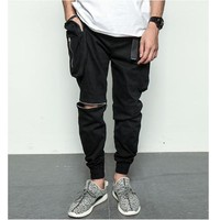 black quality zipper cargo baggy mens streetwear jogger pants