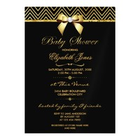 Chic Gold Foil Chevrons, Bow and Bling Baby Shower Magnetic Invitations
